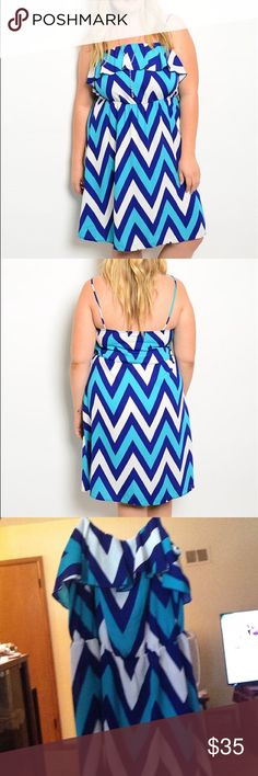 """FLASH SALE Plus Size Chevron Blues Dress Brand new, retail items! This lightweight dress features gorgeous blues, non adjustable spaghetti straps, and a ruffle neckline. 100% polyester. not torrid, just using for exposure. Actual brand is hug + Get down with the summertime blues in this summer dress!!.                                     Approximate measurements laying flat, unstretched: 1X: B:16"""" W:15"""" L:33""""❎2X:B:17"""" W:16"""" L:33""""❎3X: B:18"""" W:17"""" L:33"""".  ❗️dress does offer some stretch in…"""