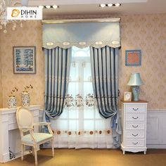 DIHIN HOME Blue Embroidered Star Valance,Blackout Curtains Grommet Window Curtain for Living Room ,52x84-inch,1 Panel Grommet Curtains, Sheer Curtains, Blackout Curtains, Window Curtains, Valance, Curtain Length, Room Darkening, Home Textile, Windows
