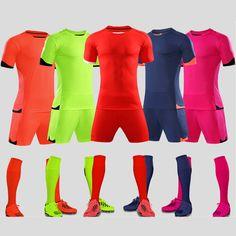 413baa310a6 Survetement 2017 polyester kids football uniforms short sleeve boys soccer  jerseys set blank team training suit breathable print in 2019