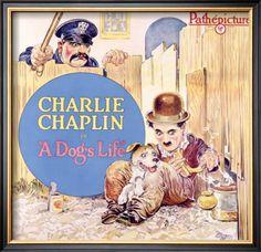 Charlie Chaplin, Dog's Life Framed Giclee Print