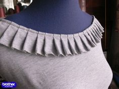 Tutorial from Brother on how to create this pleated neckline for a knit shirt. Kurtha Designs, Chudidhar Neck Designs, Kids Blouse Designs, Salwar Neck Designs, Neck Designs For Suits, Kurta Neck Design, Saree Blouse Neck Designs, Neckline Designs, Dress Neck Designs
