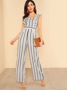 96c45c001c Shop Striped Ruffle Apron Jumpsuit WHITE BLACK online. SheIn offers Striped  Ruffle Apron Jumpsuit WHITE BLACK & more to fit your fashionable needs.