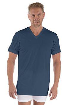 64a559f6e Men's Bamboo Viscose V-Neck Undershirt - (Airforce Blue, Large) Luxury  Underwear