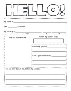 FREE Printable Pen Pal Letter Template - Homeschool Freebies - Educational Freebies - Teaching Our Kids Letter Writing For Kids, Letter Template For Kids, Letter Templates Free, Letters For Kids, Pen Pal Letters, Pocket Letters, Snail Mail Pen Pals, Free Pen, Postcard Template