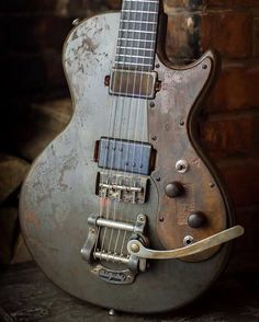 This thing looks like it's spent it's life in the back of a pickup truck. Thankfully that's just what our friends (and Stringjoy players) @amblercustomguitars intended when they built this iron-coated 'Junk Yard Dog'.   #Stringjoy #Geartalk #Guitarist #GearNerds #GuitarPlayer #GearWire #KnowYourTone #GuitarGear #Guitar #CleanTone #ToneForDays | Create your custom string set today at Stringjoy.com #guitar #guitars #electric #acoustic #bassguitar
