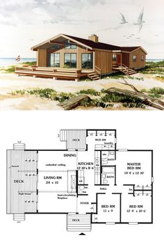 House Plan 90630 - Coastal, Contemporary Style House Plan with 1299 Sq Ft, 3 Bed, 2 Bath Sims House Plans, Family House Plans, Dream House Plans, Small House Plans, House Floor Plans, Tiny House Cabin, Cabin Homes, Tiny Homes, Casas The Sims 4