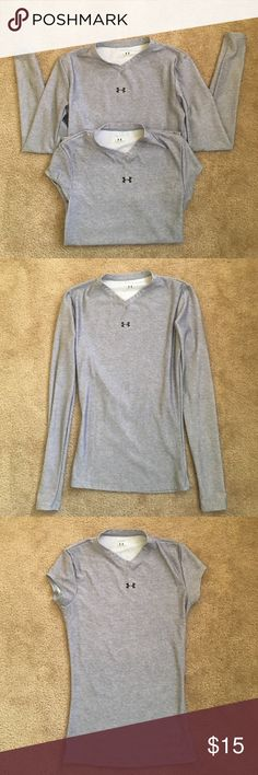 *Bundle* long sleeve & short sleeve Under Armour Both of the shirts are in perfect condition with very minimal wear! They are a breathable dry fit material! The long sleeve is a size SMALL! The short sleeve is a size XSMALL! However fit the same. If you are interested in just one let me know! All of my items come from a smoke free home! Under Armour Tops Tees - Long Sleeve