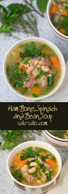 Ham Bone, Spinach and Bean Soup