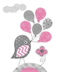 Pink and Grey Nursery Prints Nursery art by MuddyPuddlePrints