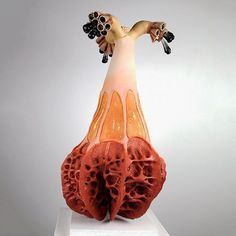 Sara Catapano's ceramic sculptures appear as absorbing, yet disconcerting biomorphic forms that defy their medium. Though there are otherworldly qualities to these pieces, the artist's observ… Pottery Sculpture, Sculpture Clay, Ceramic Sculptures, Soft Sculpture, Abstract Sculpture, Garden Sculpture, Glass Ceramic, Ceramic Clay, Ceramic Bowls
