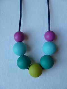 Custom Color Hand Painted Wooden Bead Necklace by ClarissaBdesigns