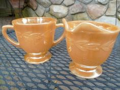 Fire King  Sugar & Creamer Set Peach Luster, Laurel Vintage Pattern