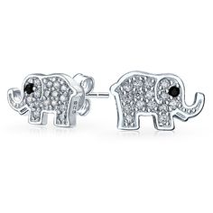 .925 Silver CZ Shimmering Lucky Elephant Stud Earrings ($21) ❤ liked on Polyvore featuring jewelry, earrings, clear, cz earrings, cubic zirconia earrings, silver cubic zirconia earrings, animal earrings and silver earrings