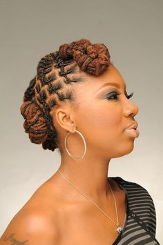 Loc bun with a bang side view Dreads Styles For Women, Natural Hair Styles For Black Women, Updo Styles, Locs Styles, Short Locs Hairstyles, Natural Hairstyles, Loc Updo, Beautiful Dreadlocks, Dreadlock Styles