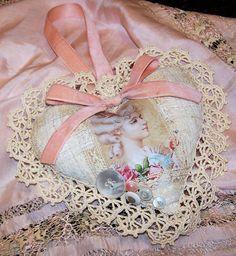 Nostalgic Collage': Antique Lace Valentine Marie Heart