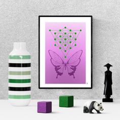 modern butterfly, sacred geometry print, green  butterfly poster, zen wall art, digital download, printable home decor Printable Art, Printables, Green Butterfly, Sacred Geometry, Art For Sale, Bees, Butterflies, Insects, Sketches
