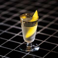 White Sazerac: Absinthe, White Aquavit, Becherovka, Frangelico, Simple Syrup, Lemon Twist.