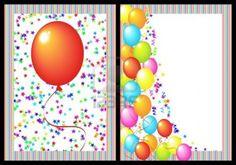 Tarjeta de invitación de cumple con globos.