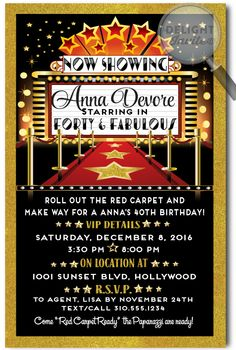 Movie Star Hollywood Red Carpet Birthday Invitations, expertly printed on gorgeous metallic paper and artfully hand-mounted on beautiful metallic shimmer gold card stock, these Hollywood Movie Star 40 & Fabulous invites are truly stunning in person! 13th Birthday Parties, 50th Birthday Party, Anniversary Parties, Hollywood Theme, Hollywood Sweet 16, Sweet 16 Parties, Surprise Parties, Red Carpet Party, 40th Birthday Invitations