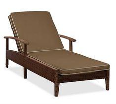 Palmetto Single Chaise Cushion Slipcover, Sunbrella(R) Contrast Piped, Mocha