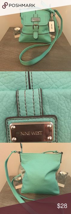 NWT Nine West Mini Shoulder Bag NWT Nine West Mini Bag, light green/teal, front pocket and inside zip pocket.  Slight small flaw as  seen in picture.  Can barley notice it. Nine West Bags Mini Bags