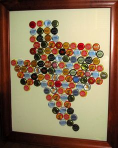 DIY beer art DIY art for beer lovers - Not using Texas but the . Beer Cap Crafts, Beer Bottle Crafts, Bottle Cap Projects, Craft Beer, Diy Projects To Try, Craft Projects, Beer Cap Art, Bottle Cap Art, Craft Night