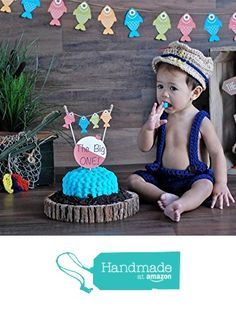 "Gone Fishing Cake Topper Bunting and ""The Big ONE!"" Bobber, gone fishing theme birthday party, Amazon has tons of items for this party theme. om/dp/B01DKY9KZS/ref=hnd_sw_r_pi_dp_Z6oJxbCWKPNGA #handmadeatamazon"