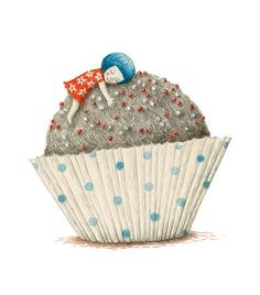 Ofra Amit girl | illustration | blue | cupcake | cake |