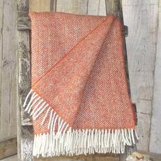 sunset orange herringbone tweed throw by rustic country crafts   notonthehighstreet.com