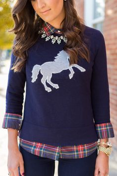 horse sweater, tartan plaid, layered fall outfit, brown booties // grace wainwright from a southern drawl