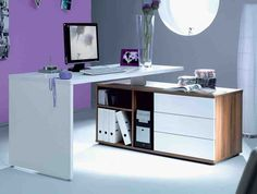 Beautiful Home Office With Grey Purple Color Design And White Desk Computer Room Decor Also Storage Drawer In Low Simple Decoration Ideas Computer Room Decor Home Office Home Office Desk Computer Room Cute Color Bedroom Desk Design Ideas Computer Room Decor, White Corner Computer Desk, Cool Computer Desks, Computer Desk Design, Computer Rooms, Corner Desk, Computer Armoire, Small Computer, Gaming Computer