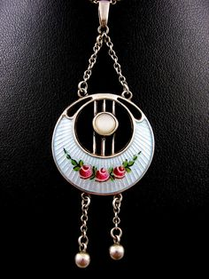 Charles Horner Art Nouveau Pendant Necklace with Fine Guilloche Enamel Roses in…