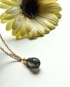Black drop necklace, Rutilated quartz, Black and white necklace, Tourmaline quartz drop, Gemstone drop, Mothers day, Quartz necklace