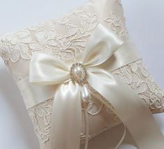 Wedding Ring Pillow and Matching Basket in Champagne Satin with Beaded Ivory Alencon Lace, Satin Bow/Rhinestone Center - The MELINDA Pillow Diy Wedding Ring, Ring Pillow Wedding, Wedding Pillows, Craft Wedding, Ring Bearer Pillows, Ring Pillows, Gold Pillows, Wedding Motiff, Flower Girl Wreaths