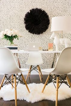 A White & Black office with the World Market Mix and Match Desk, Waiting On…