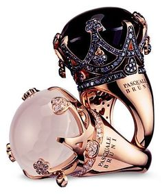 amazing crown rings for the princess inside you.---- that black one is perfection: