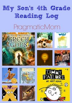 My Son's 4th Grade Reading Log so far. A list of books for boys (and girls) in Fourth Grade, particularly for those who like mythology! :: PragmaticMom