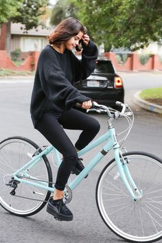 November 2: Selena riding a bike in Los Angeles, CA