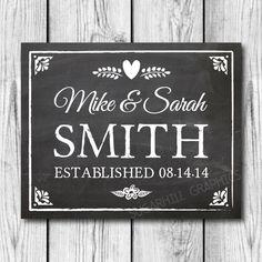 Chalkboard Wedding Sign Custom Wedding Sign by SugarHillGraphics