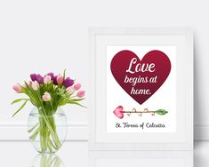 Mother Teresa Quote Print Love begins at home Catholic art   Etsy Saint Teresa Of Calcutta, Quote Prints, Art Prints, Saints, Peace Quotes, Quotes Quotes, Mother Teresa Quotes, New Beginning Quotes, Friendship Day Quotes