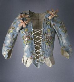 Antique Woman Bodice from around 1751-1775, made of silk, taffeta, silk ribbons, whalebone; embroidered.