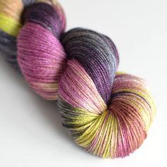 Hand Dyed Yarn Silk and Superwash Merino Wool by ToilandTrouble,