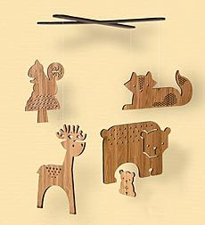woodland animal wooden mobile for baby's room
