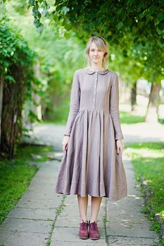 Purple linen dress with collar is made of 100 % high quality linen. Its long sleeves are finished with embroidered cotton cuffs. Most of our