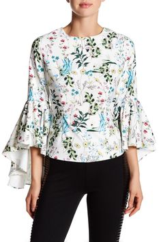 Floral Cascading Sleeve Blouse