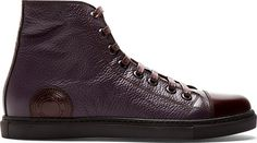 Marc Jacobs - Plum Grained Leather High-Top Sneakers | SSENSE