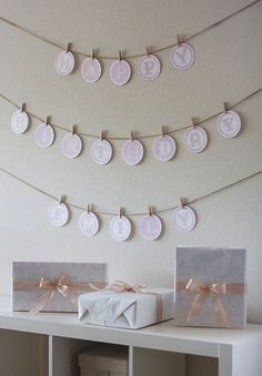 DIY birthday banner! this method looks easy. Already have the mini clothes pins - need red yard