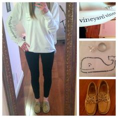 this is pretty much what i live in; vineyard vines t-shirts, leggings, and sperry's