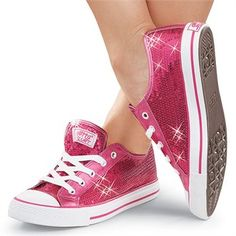 Hmm.. been thinking heels for the reception, but now.. after seeing these....    Ladies Hot Pink Sequin Bridal Sneakers - Bridesmaids Tennis Shoes