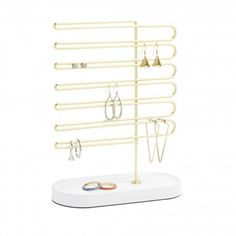 Umbra Trinket Earring Tree White/Brass - Umbra Trinket Earring Tree is an elegant jewelry stand that decoratively displays earrings. Jewelry Tree, Jewelry Stand, Jewelry Box, Jewelry Supplies, Jewellery Storage, Jewelry Organization, Chandeliers, Decorative Accessories, Home Accessories
